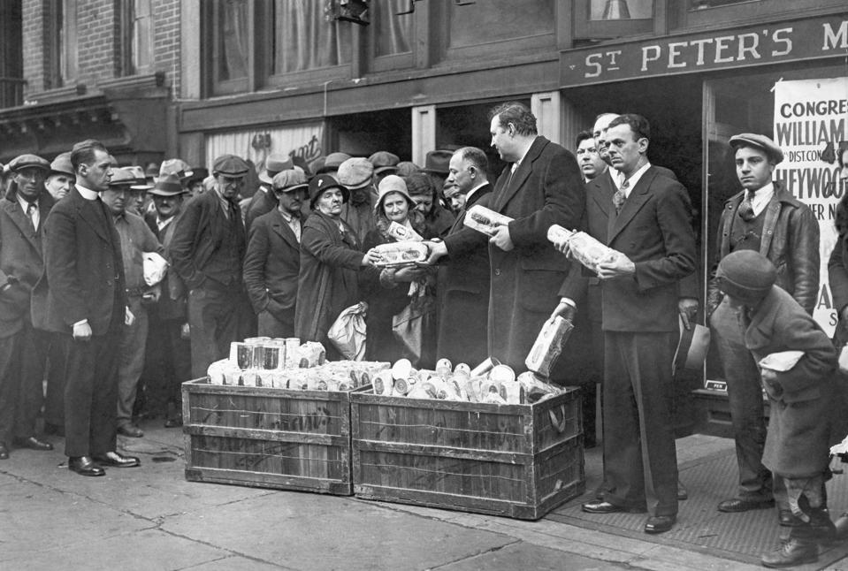 Handing Out Bread and Coffee