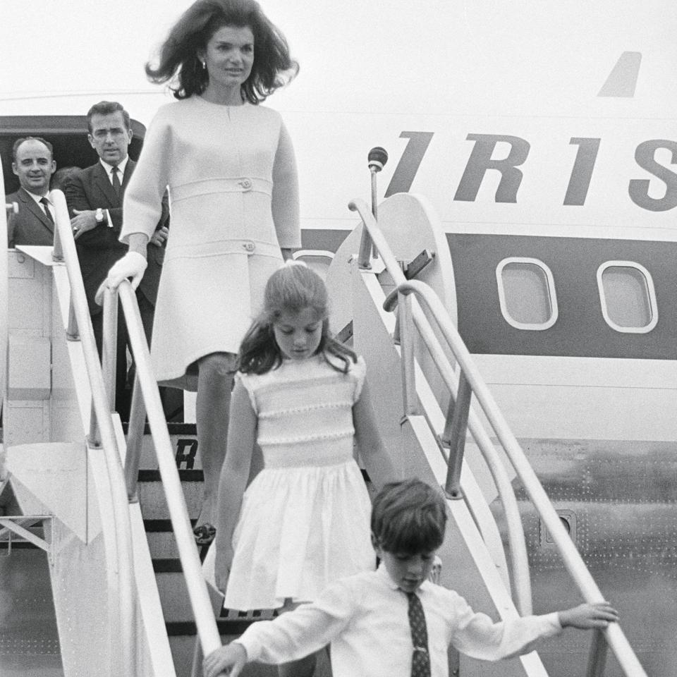 Jacqueline Kennedy and Children Exiting Airplane