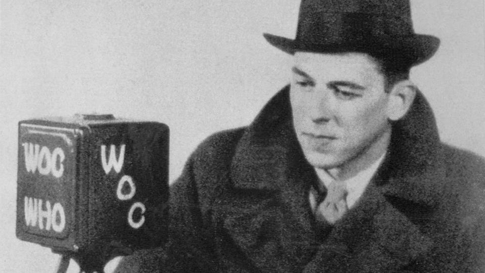 Ronald Reagan makes a radio broadcast