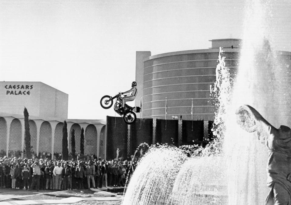 Evel Knievel Jumping Motorcycle over Fountain