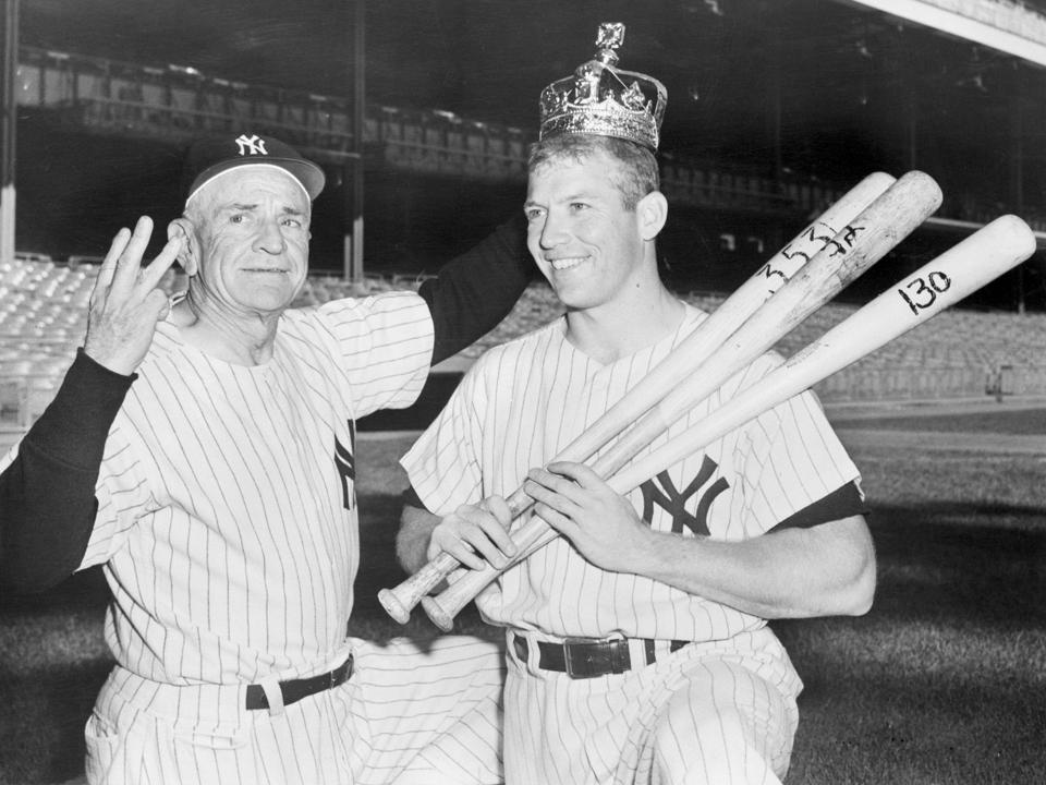 Mickey Mantle in Crown with Casey Stengel