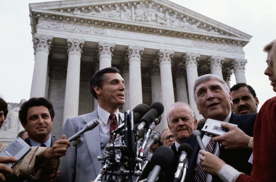 Bob Jones III and Bob Jones Jr. Addressing Press