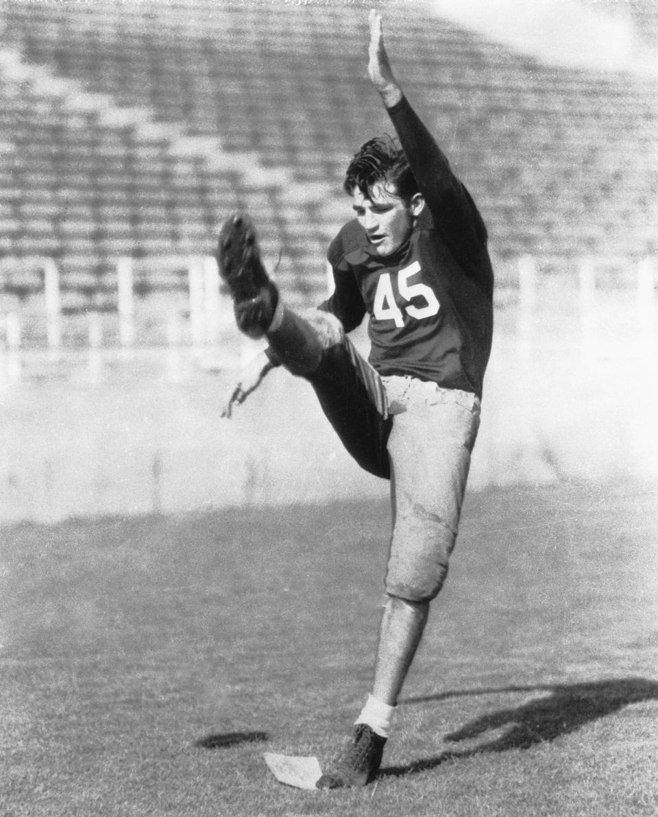 Sam Baugh, Quarterback of the Texas Christian University, who was selected for that position on the Hearst consensus All-American Football team.
