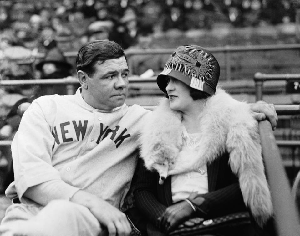 Babe and Claire Ruth on a Bench Together Before Game