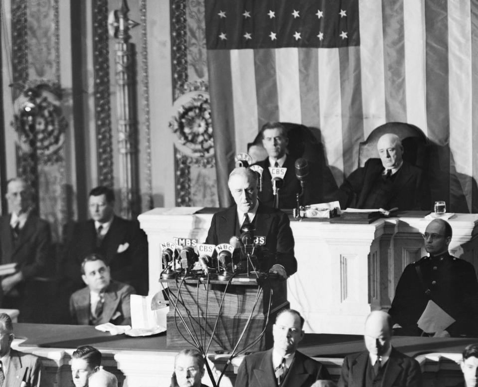 President Franklin Roosevelt Addressing Congress About Pearl Harbor