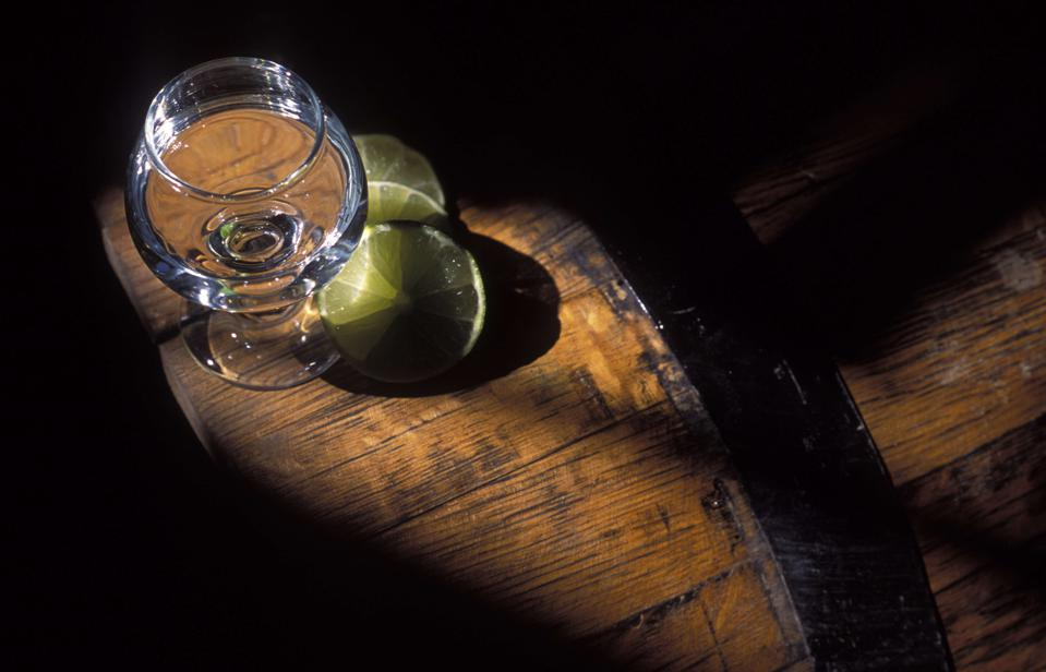 Glass of tequila and lemon, alcoholic drink, Mexico...