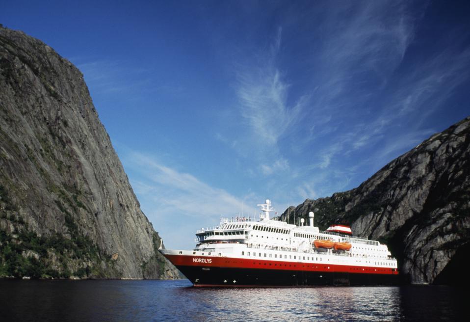 Hurtigruten ship MS Nordlys in Norway's Trollfjord