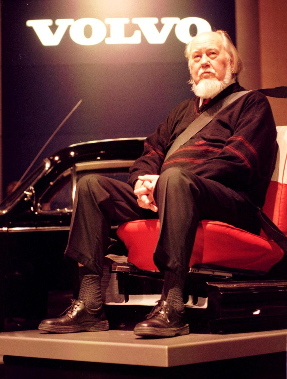 Nils Bohlin sits seat belted during a news confere