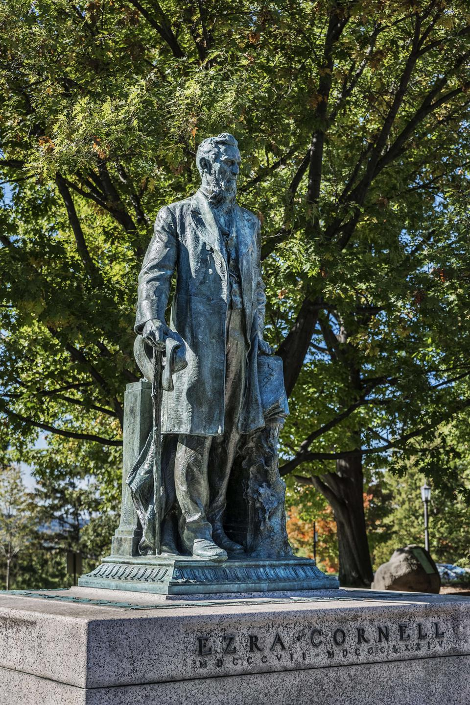 Ezra Cornell statue on the campus or Cornell University...