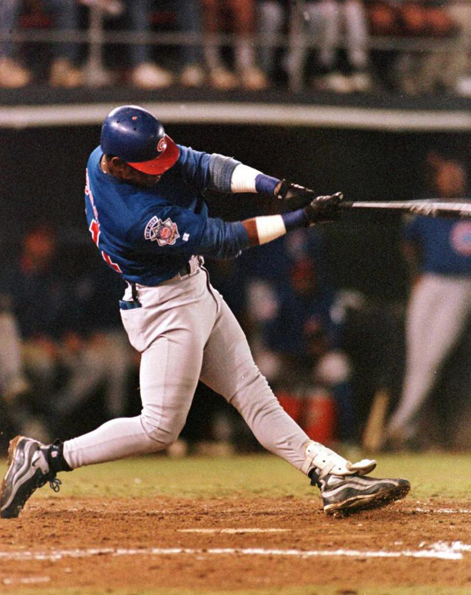 Sammy Sosa of the Chicago Cubs connects on a pitch