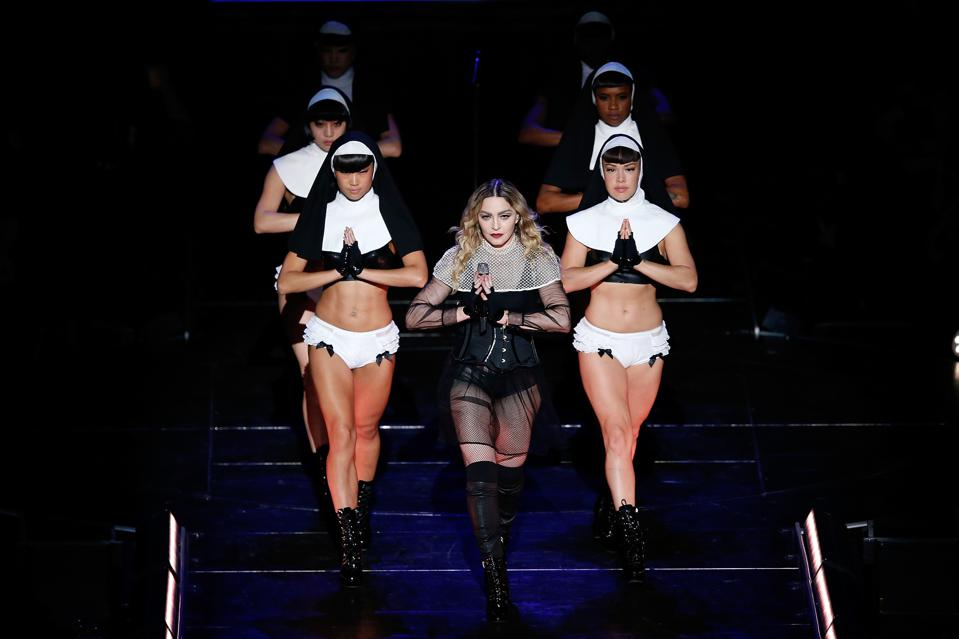 SYDNEY, AUSTRALIA - MARCH 19:  Madonna performs her 'Rebel Heart' Tour at Allphones Arena on March 19, 2016 in Sydney, Australia.  (Photo by Zak Kaczmarek/Getty Images)