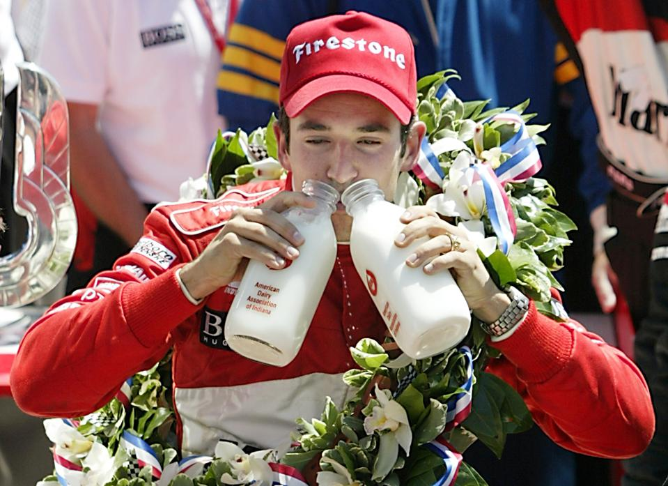 Helio Castroneves of Brazil celebrates his back-to