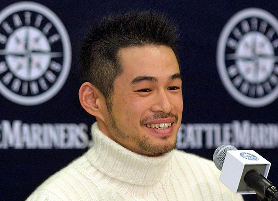 Seattle Mariner Ichiro Suzuki answers questions at