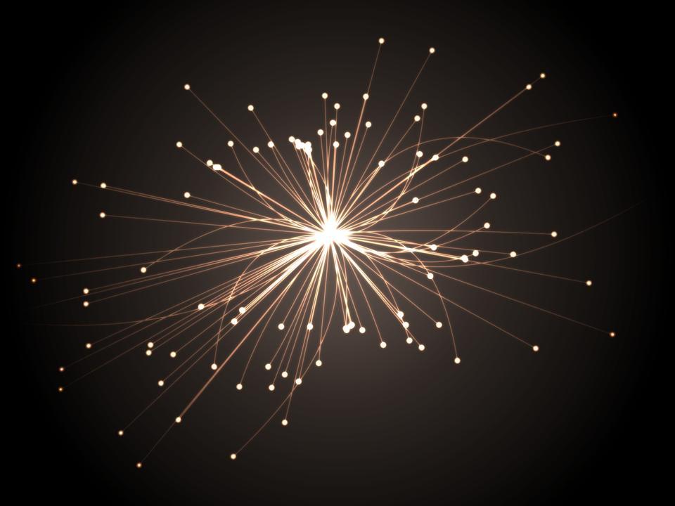 Astrophysics concept. Scientific research. Particles collision.