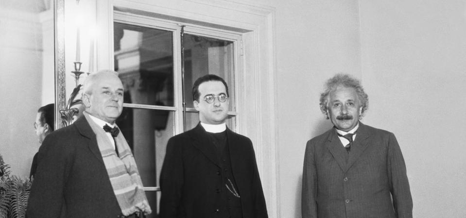 Albert Einstein with Robert Millikan and Georges LeMaitre