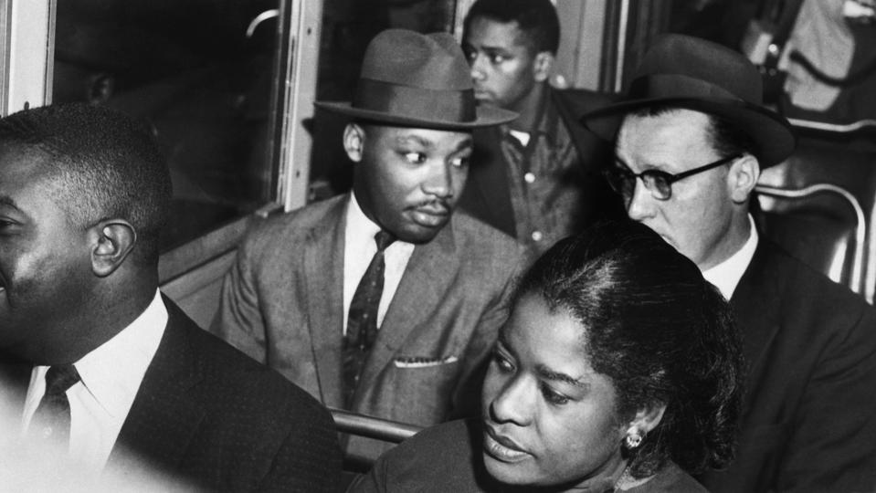 Martin Luther King Riding Montgomery Bus