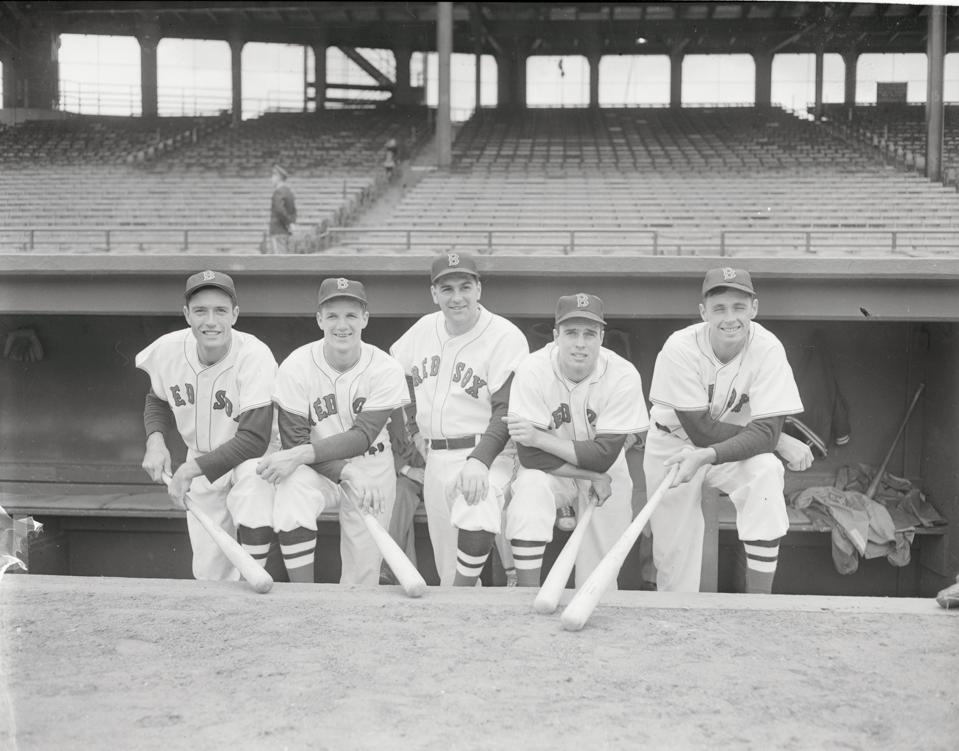 Lou Boudreau and Teammates Posing in Dugout