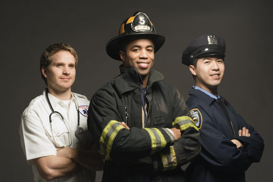 Police officer, paramedic and fireman, on black background, port
