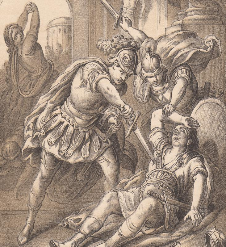 Murder of  Roman emperor Caligula in 41 AD, published 1865