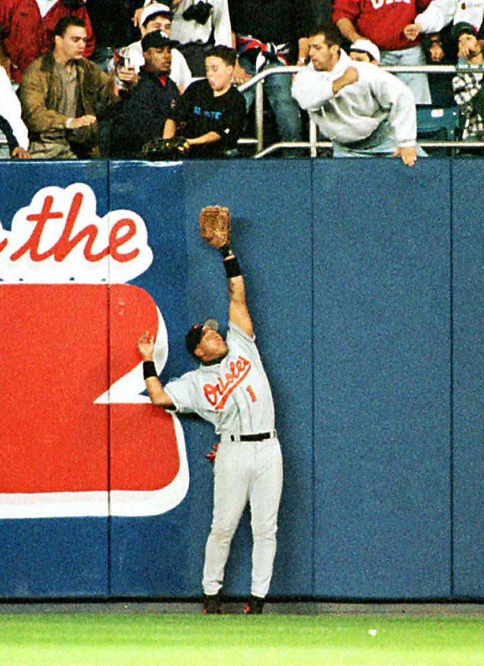 Baltimore Orioles' right fielder Tony Tarasco trio