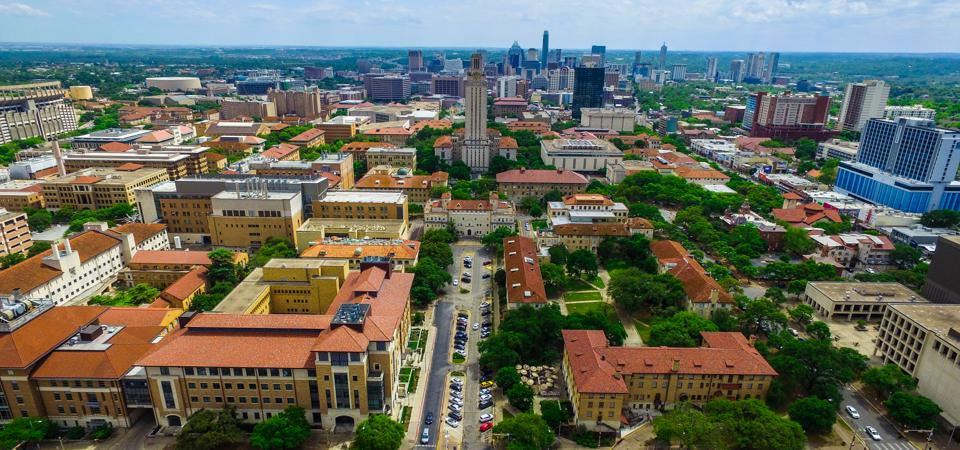 UT Tower Aerial over Campus University of Texas Austin