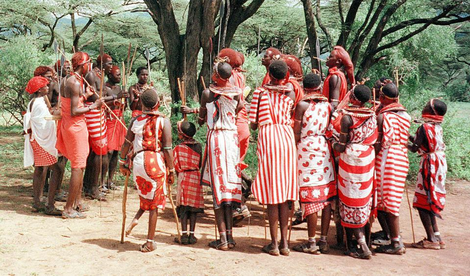 Maasai Morans (warriors) perform a traditional dance.