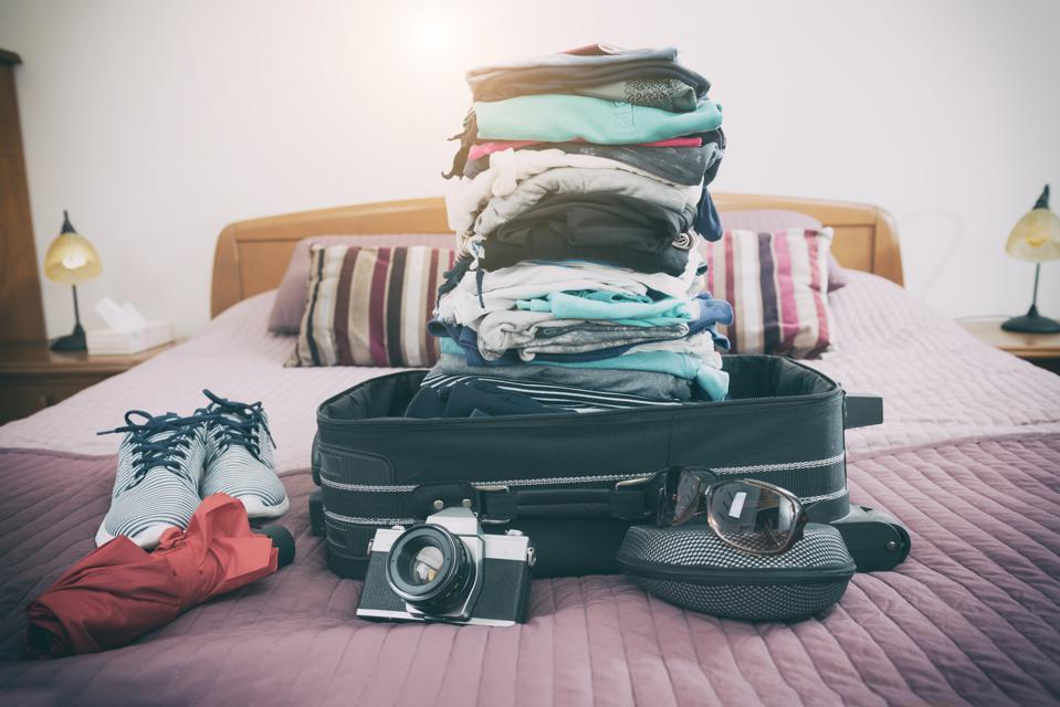 Luggage with clothes and other items
