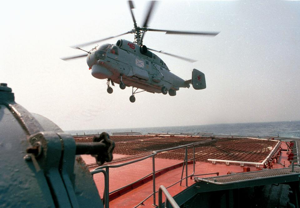 Ka-27PL helicopter takes off to search for submarine, 1996