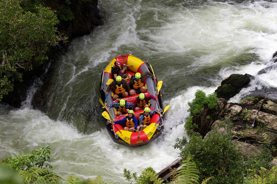 White-water rafting with Kaituna Cascades on the Kaituna River. Rotorua, North Island, New Zealand