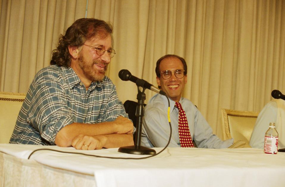 Steven Spielberg and Jeffrey Katzenberg at Press Conference