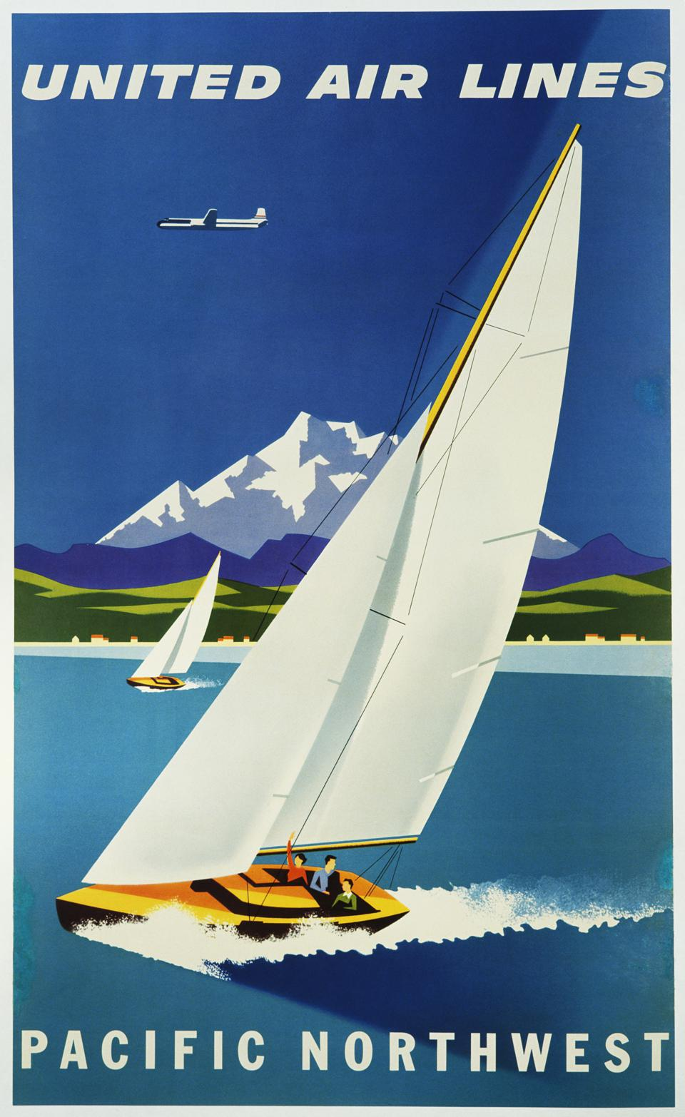 United Air Lines - Pacific Northwest Travel Poster by Joseph Binder