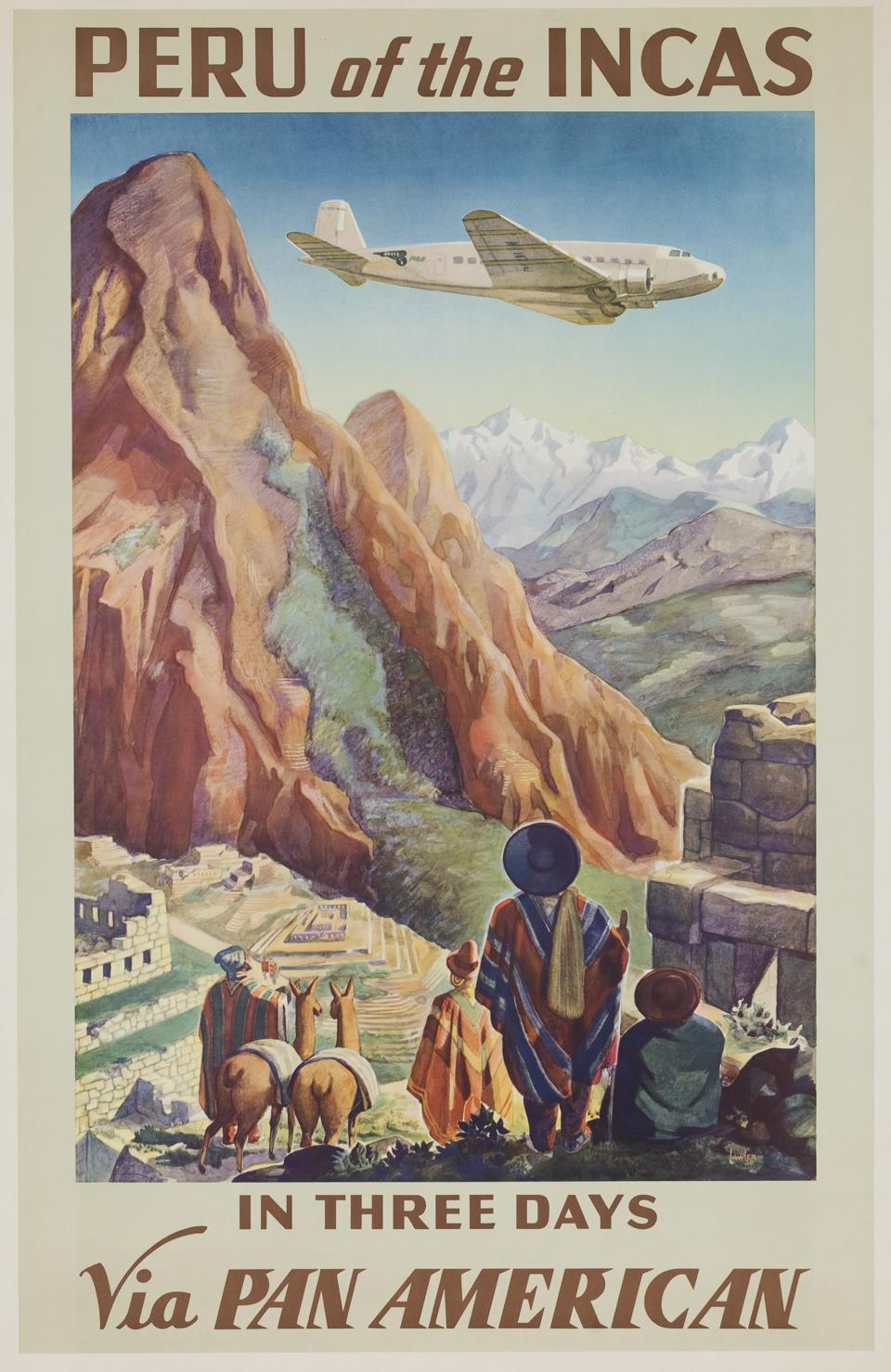 Peru of the Incas in Three Days via Pan American, Travel Poster