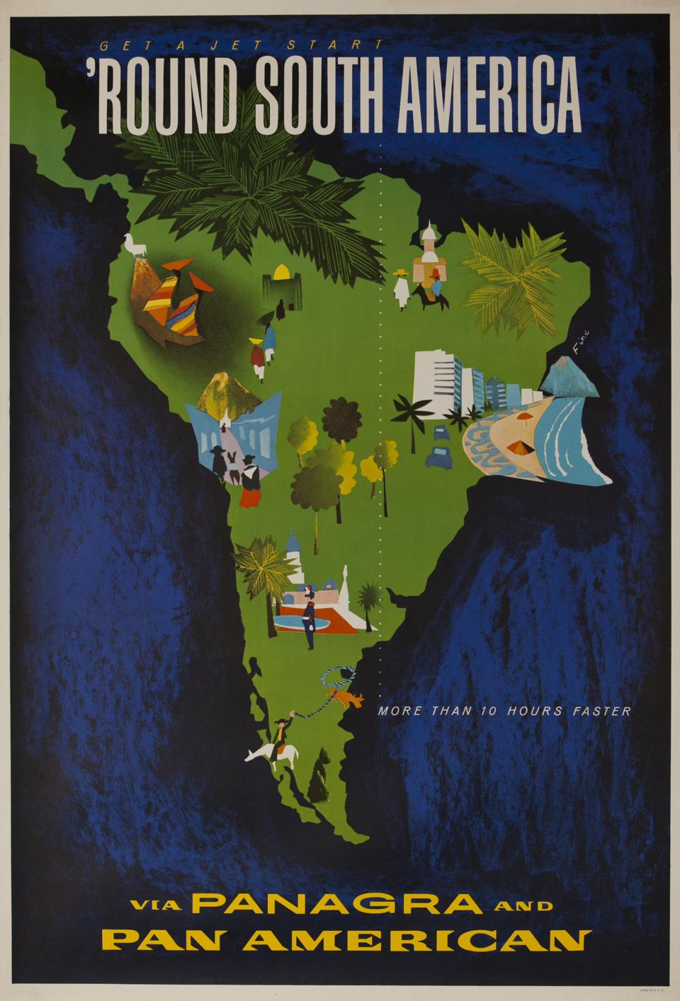 Pan Am Travel Poster, 'Round South America Icon images