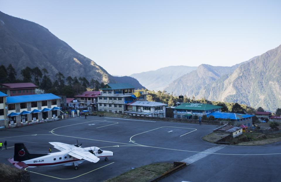 Plane runway at Lulla Tenzing Hillary Airport in Lukla