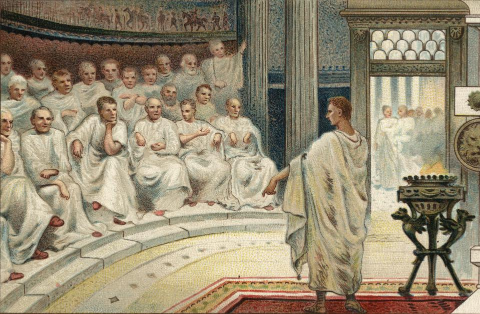 Illustration of Cato the Elder before the Roman senate