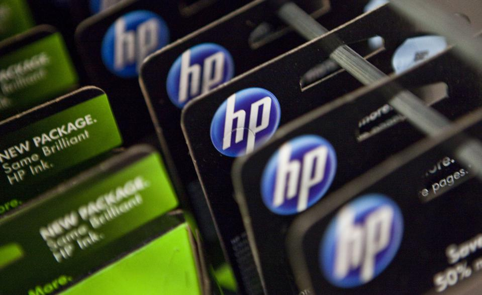 HP printer ink cartridges are displayed in a store in New York City in 2010.