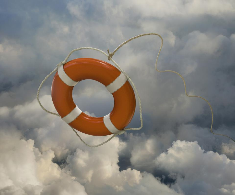 Orange life preserver floating in clouds