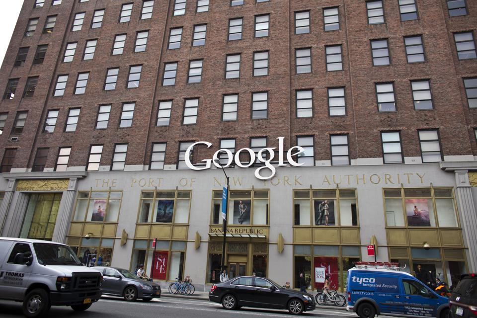 Google logo is displayed on the company's headquarters in Chelsea section of New York City. (Photo by Ramin Talaie/Corbis via Getty Images)