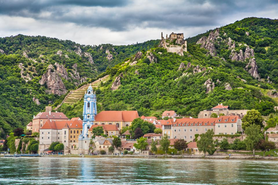 Town of Dürnstein with Danube river, Wachau, Austria