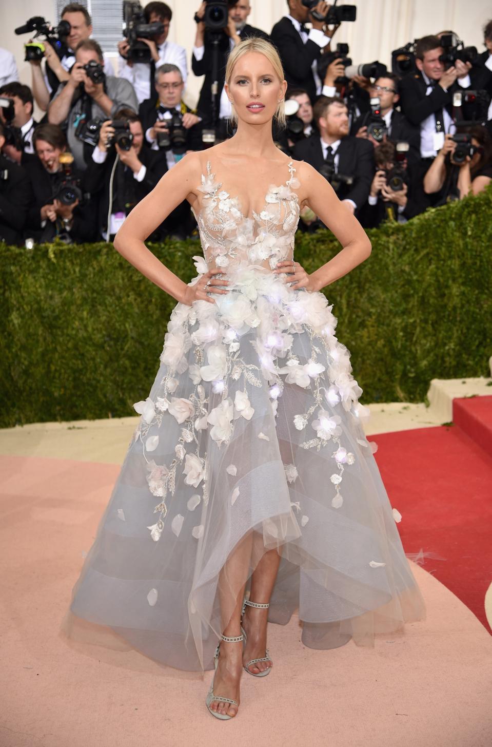 Karolina Kurkova Wears 3D LED Flowers At Met Gala 2016