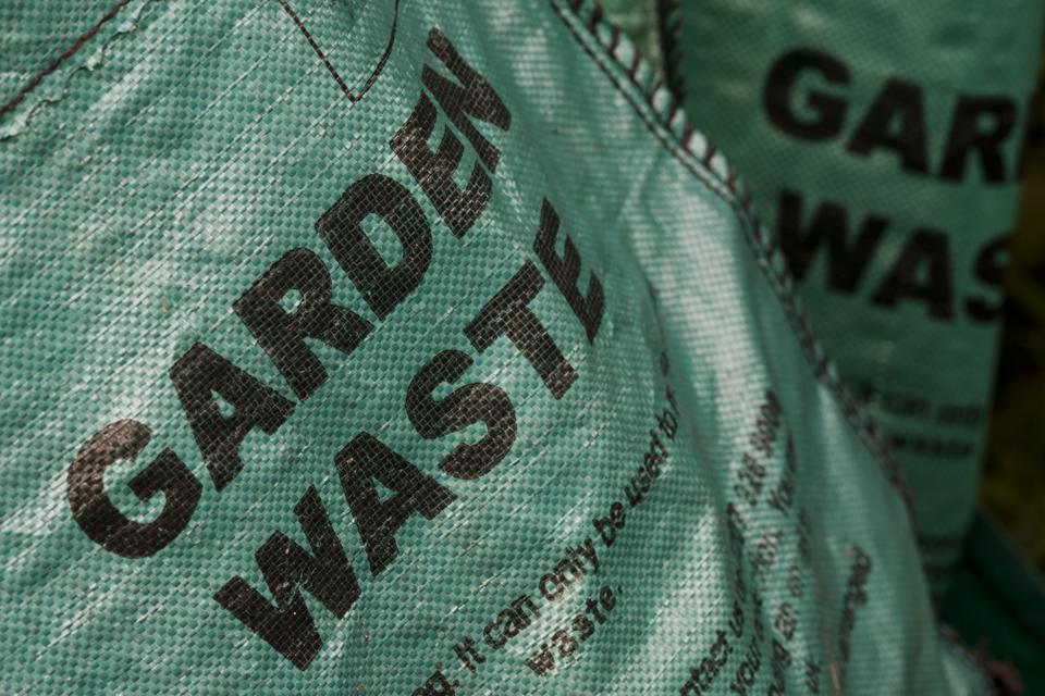 A London borough of Lambeth council green waste recycling bag. LIke many London councils, Lambeth charges for its garden waste collections. The waste no longer goes to landfill.