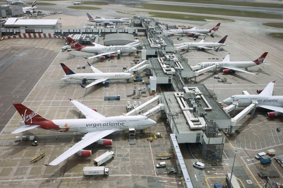UK - Hounslow - Aerial of Heathrow airport airliners