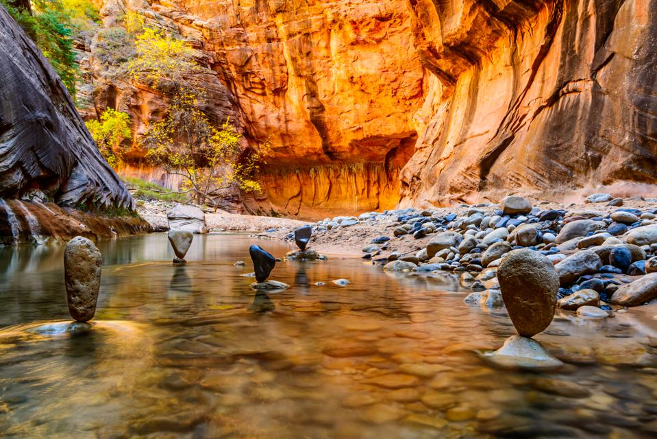 Balanced Stones in The Narrows - Zion National Park