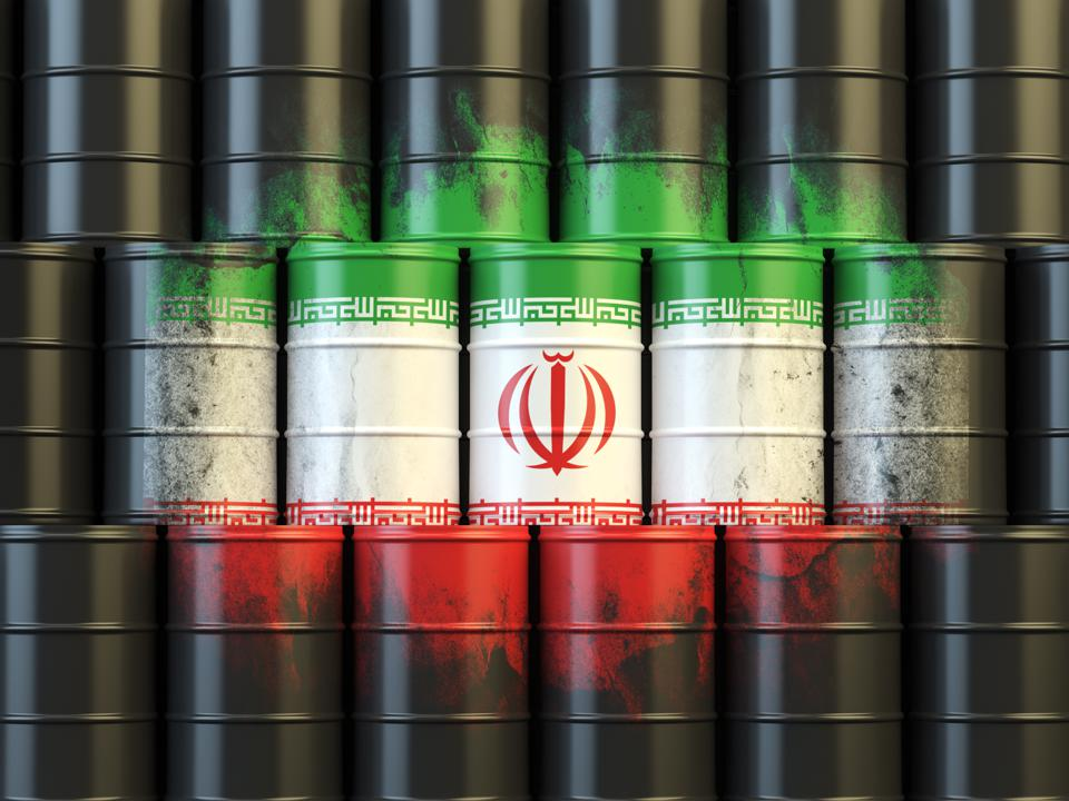 Iranian oil fuel energy concept. Flag of Iran