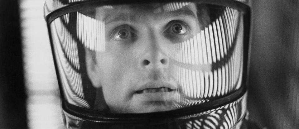Astronaut in a spacesuit from a movie scene from ″2001: A Space Odyssey.″