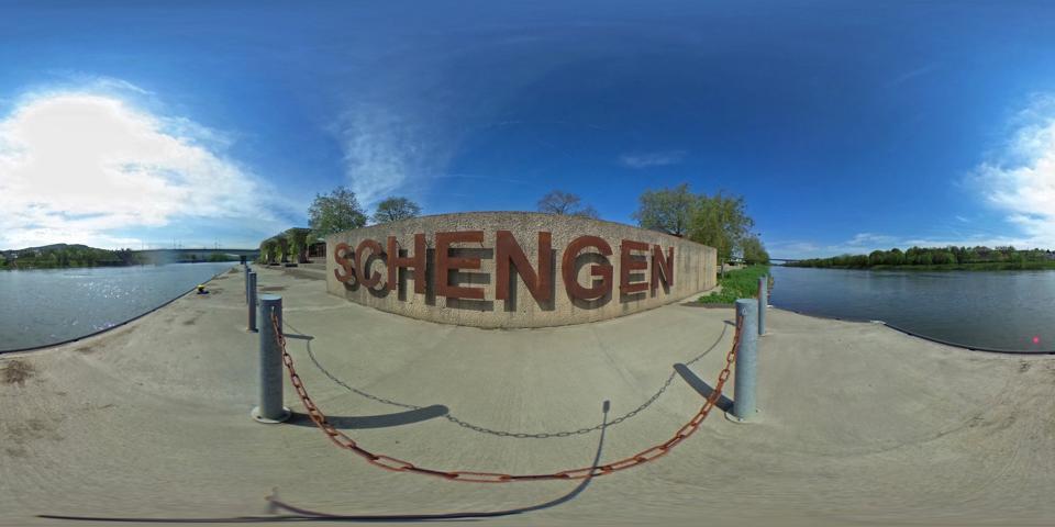 Schengen sign in Europe as international travel begins in passport free zone