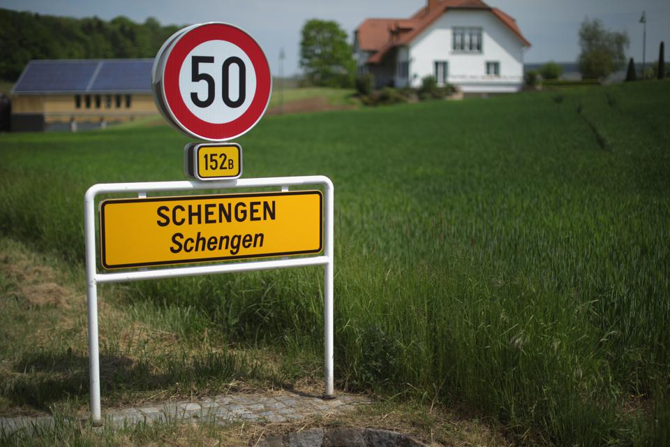A road sign in Schengen where the 1985 European Schengen Agreement was signed on May 11, 2016 in Luxembourg.