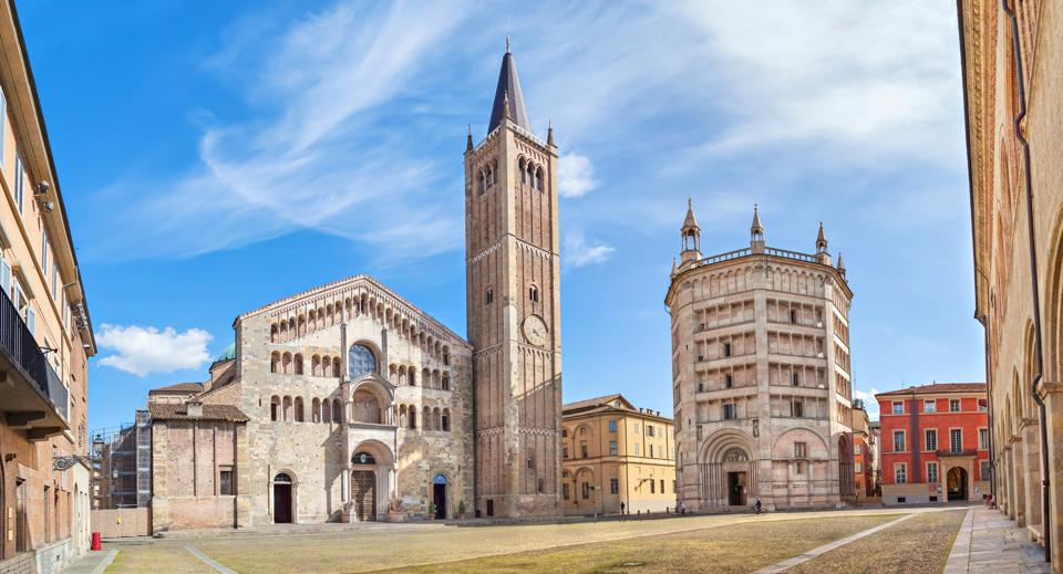 Panorama of Piazza Duomo in Parma, Italy