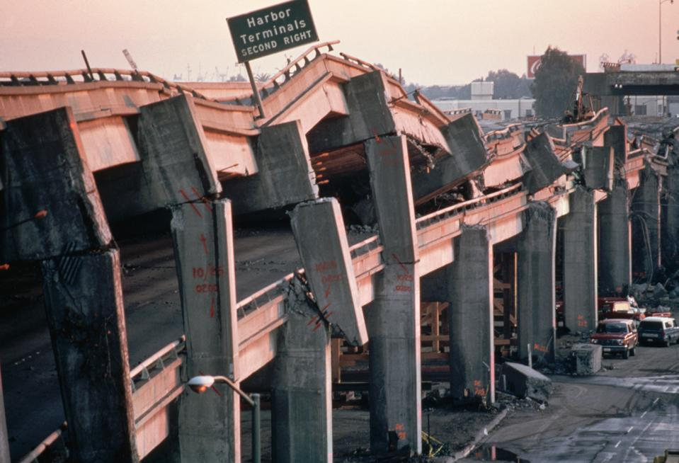 Wreckage of the Cypress Freeway from the Loma Prieta Earthquake of 1989