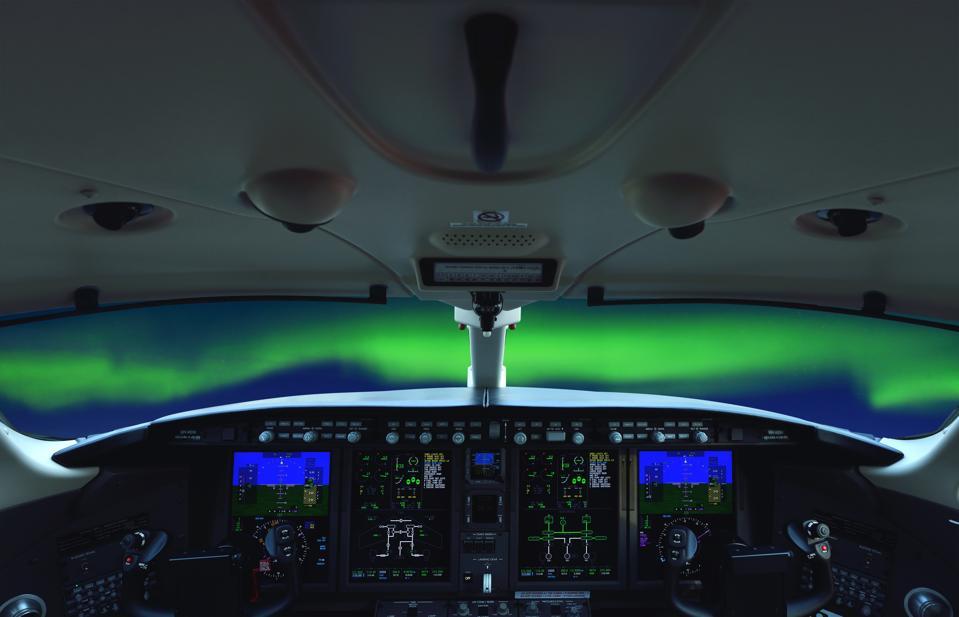 Airplane Cockpit View Aurora Borealis